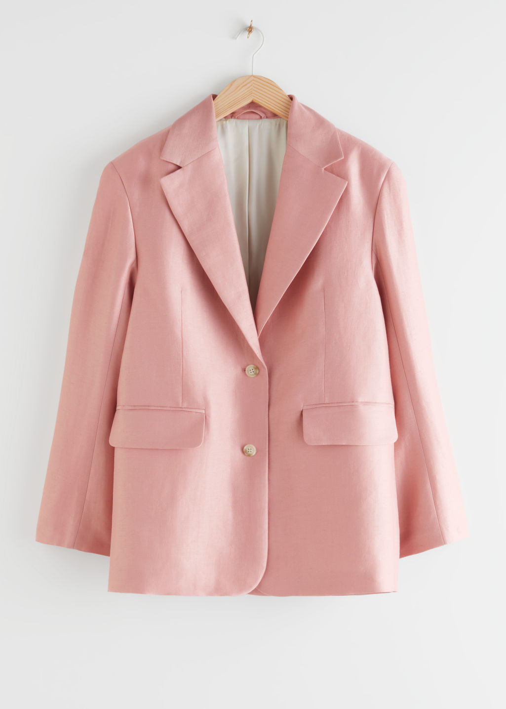 StillLife Front Image of Stories Boxy Linen Blend Blazer in Pink