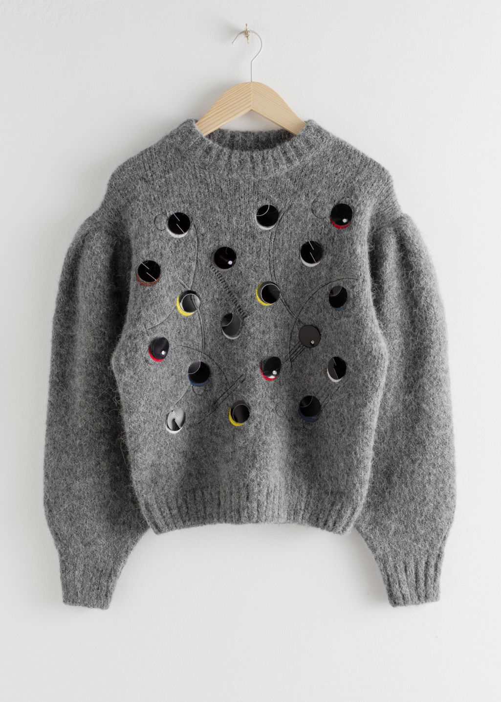 StillLife Front Image of Stories Embroidered Alpaca Blend Dot Sweater in Grey