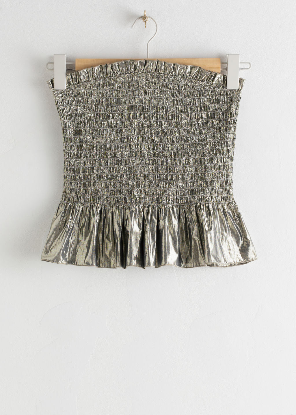 StillLife Front Image of Stories Smocked Metallic Strapless Top in Beige