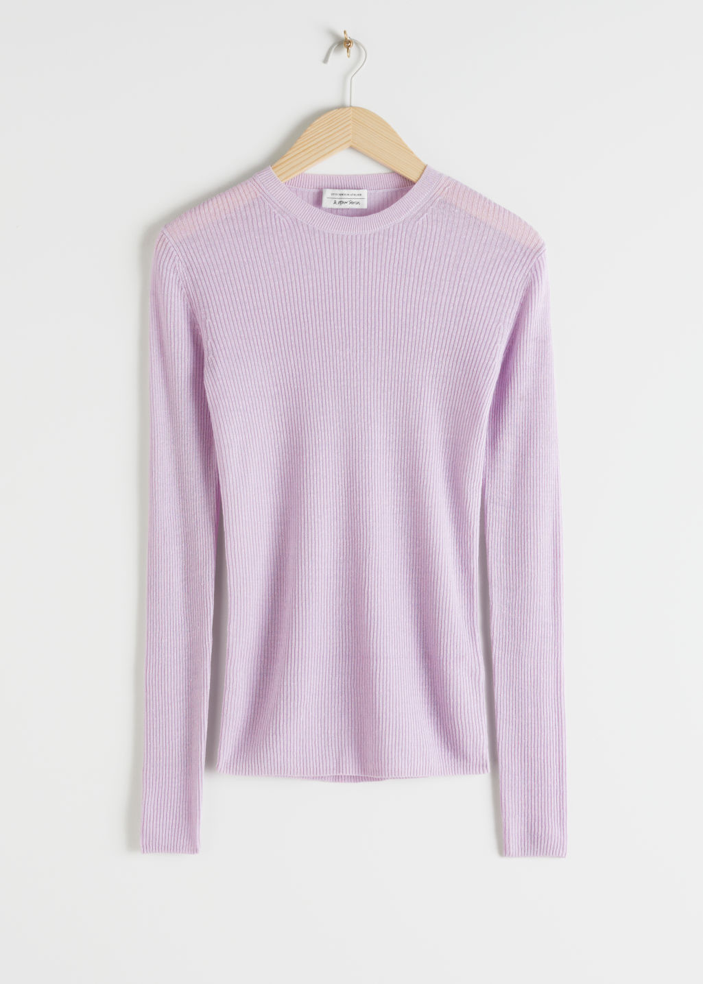 Front image of Stories linen silk blend turtleneck sweater in purple