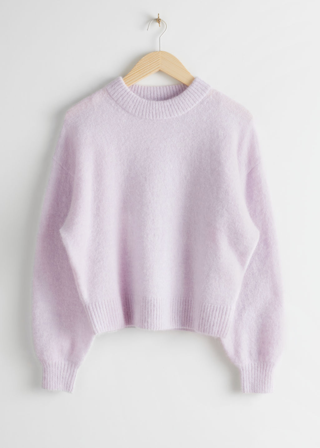 Front image of Stories fuzzy wool blend sweater in purple