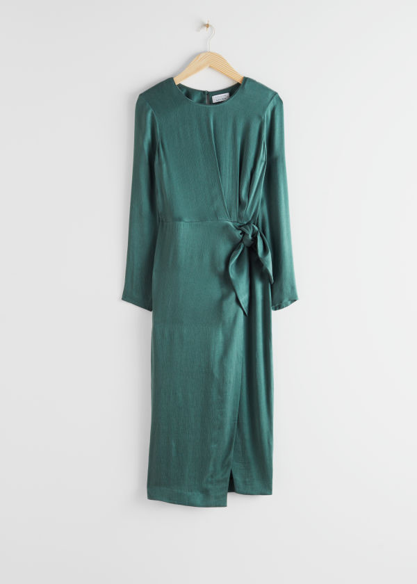 Satin Side Knot Midi Dress