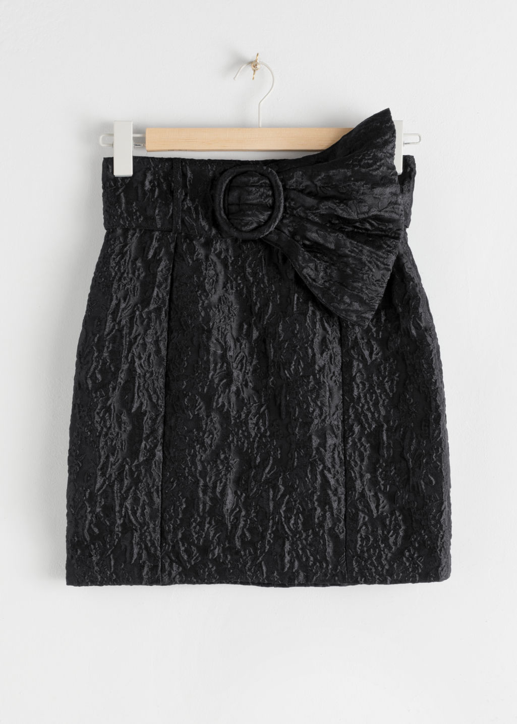 StillLife Front Image of Stories Flared Belt Jacquard Mini Skirt in Black