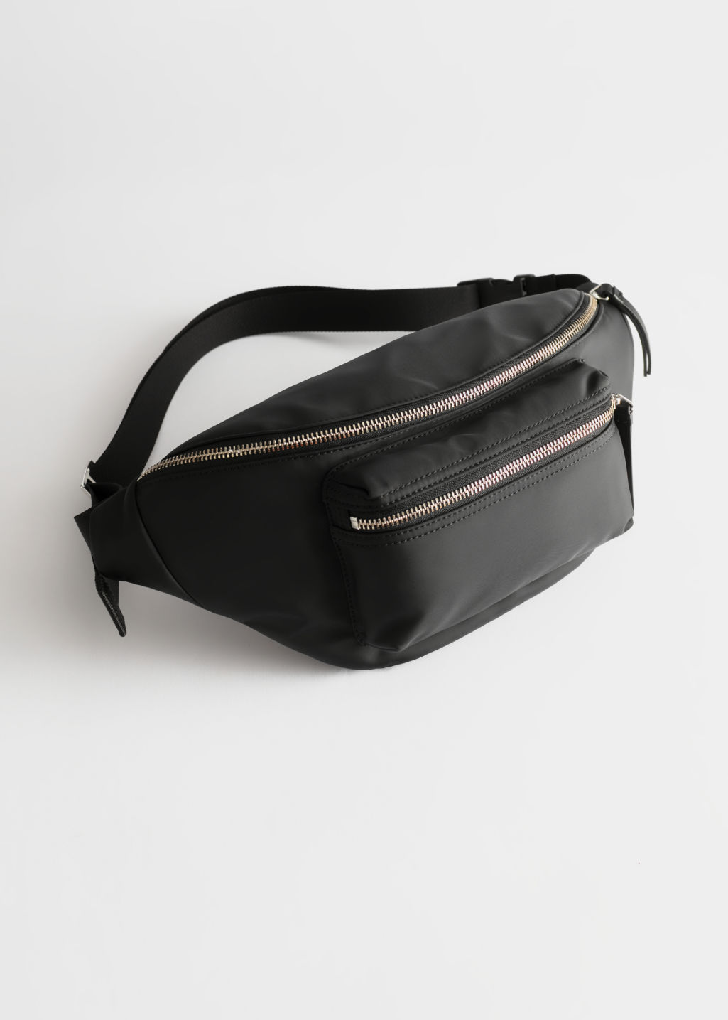 Front image of Stories large nylon beltbag in black