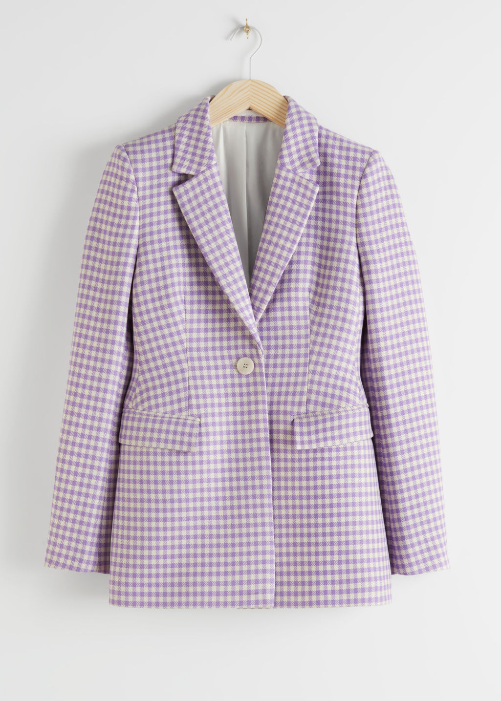 StillLife Front Image of Stories Tailored Gingham Blazer in Purple