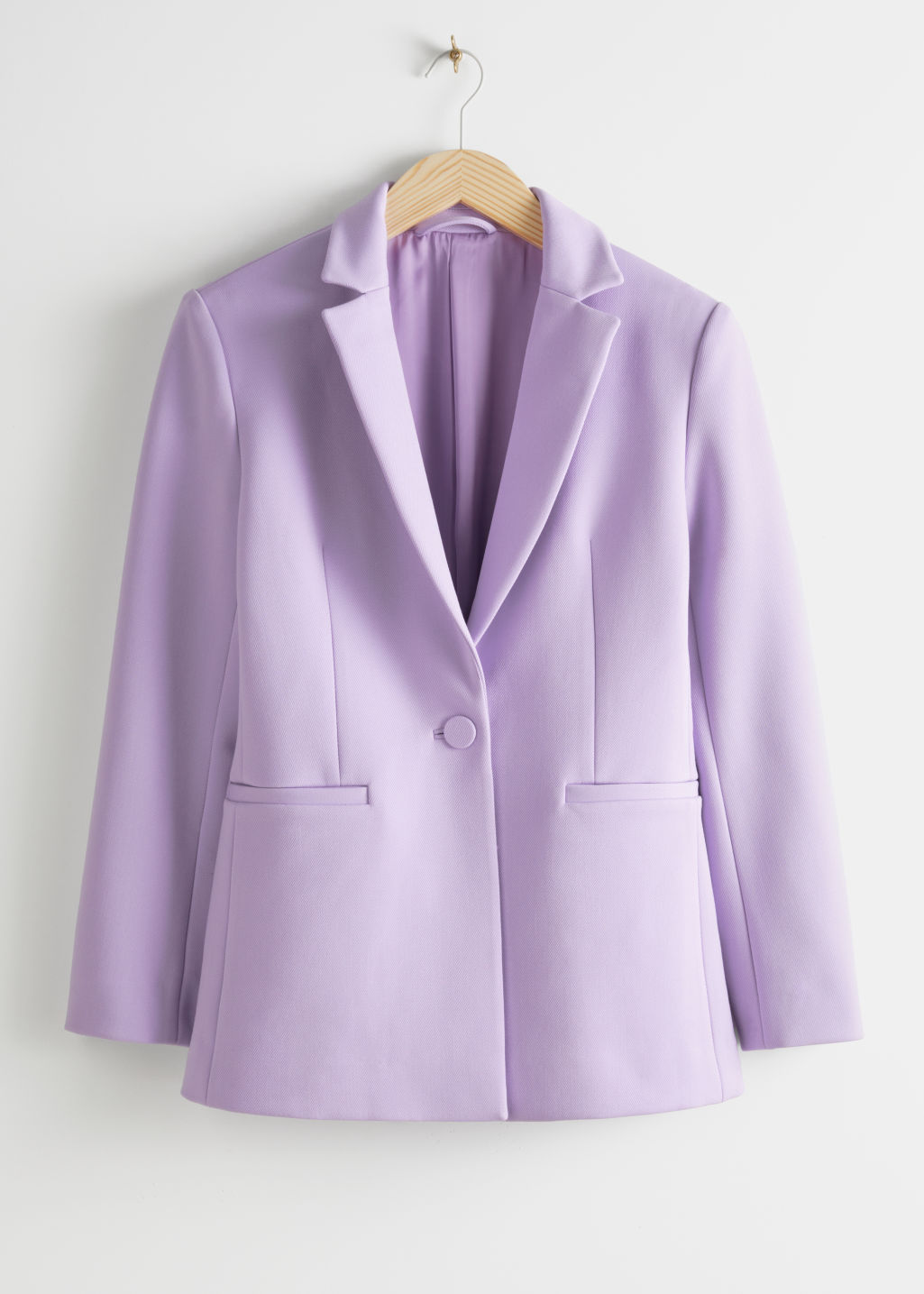 Front image of Stories structured single button blazer in purple