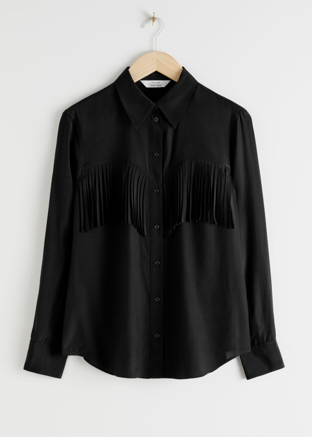 StillLife Front Image of Stories Button Up Fringe Shirt in Black