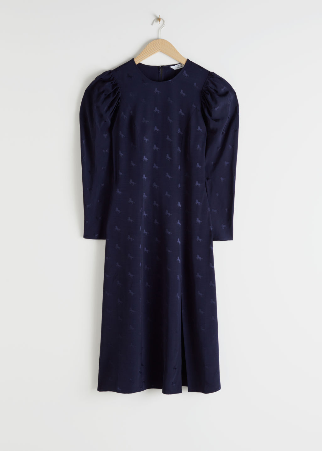 Front image of Stories horse jacquard midi dress in blue