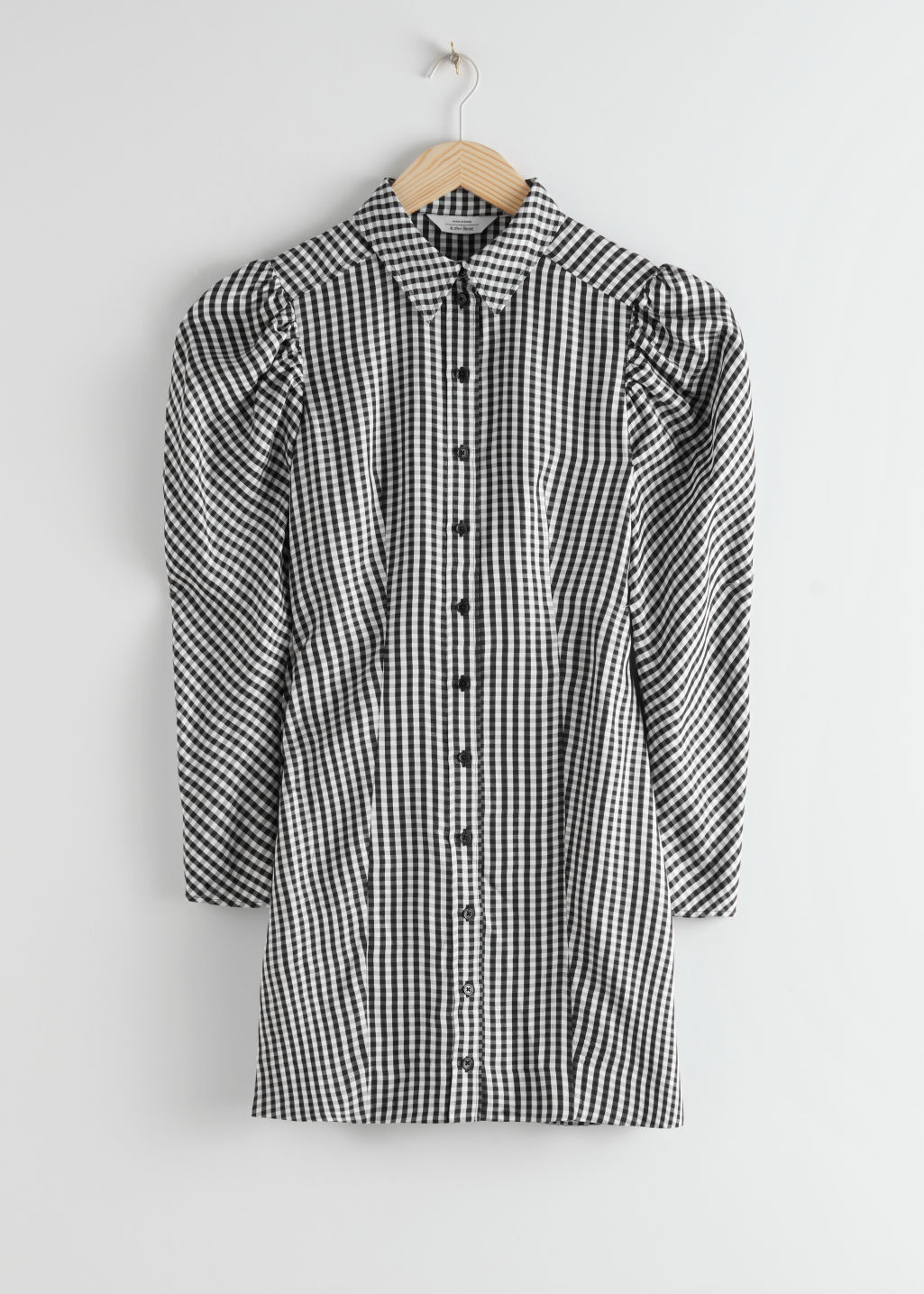StillLife Front Image of Stories Puff Sleeve Mini Shirt Dress in Black