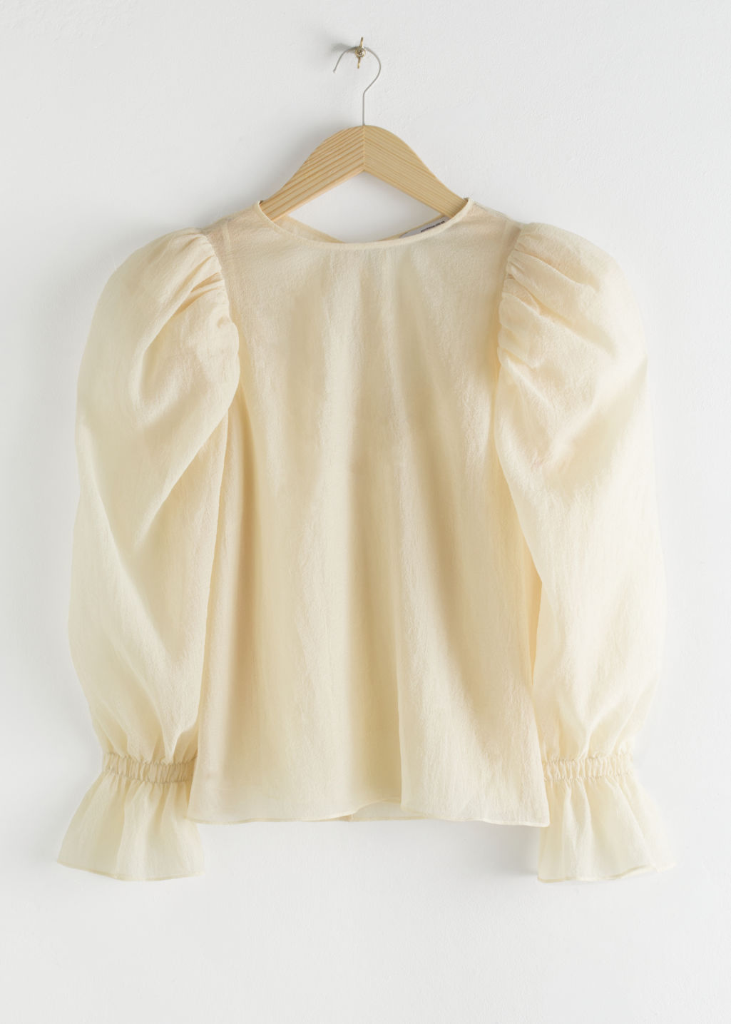 StillLife Front Image of Stories Sheer Puff Sleeve Blouse in White