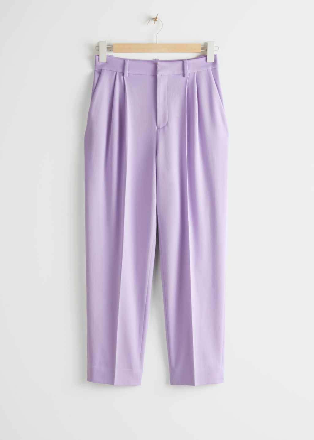 StillLife Front Image of Stories Duo Pleat Tailored Trousers in Purple