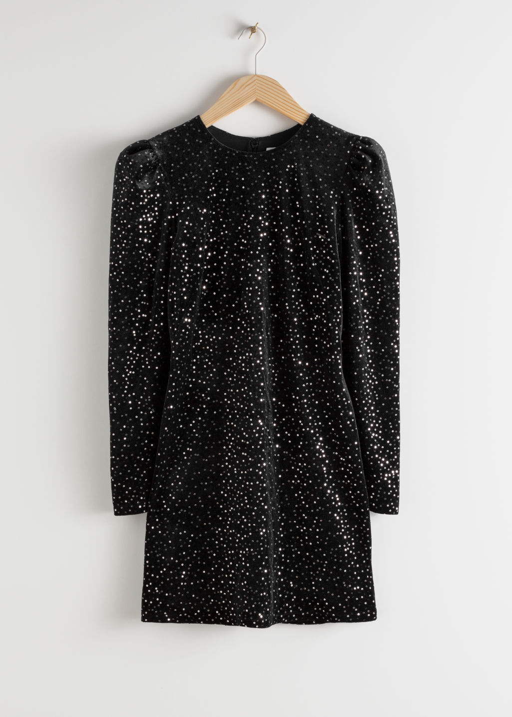 Front image of Stories velvet sequined mini dress in black