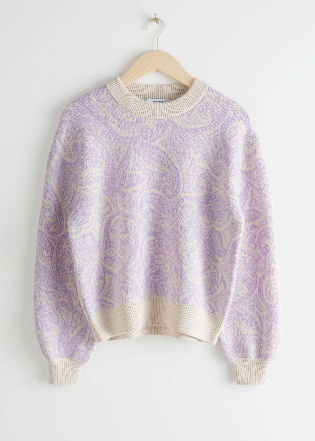 StillLife Front Image of Stories Paisley Jacquard Knitted Sweater in Beige