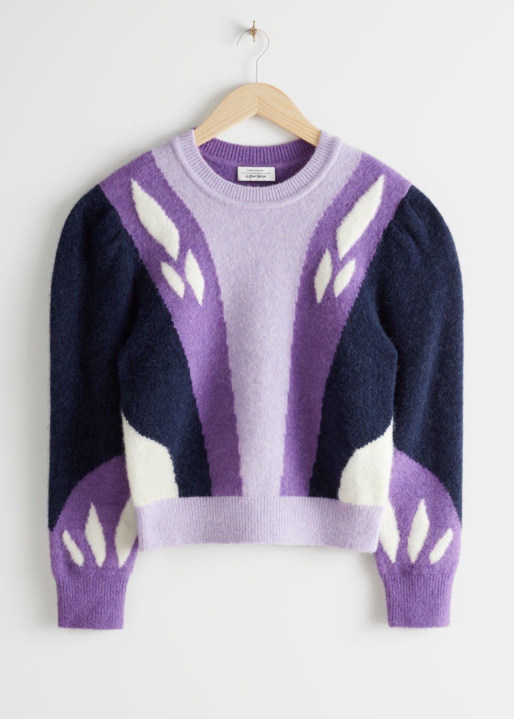 StillLife Front Image of Stories Colour Block Puff Shoulder Sweater in Purple