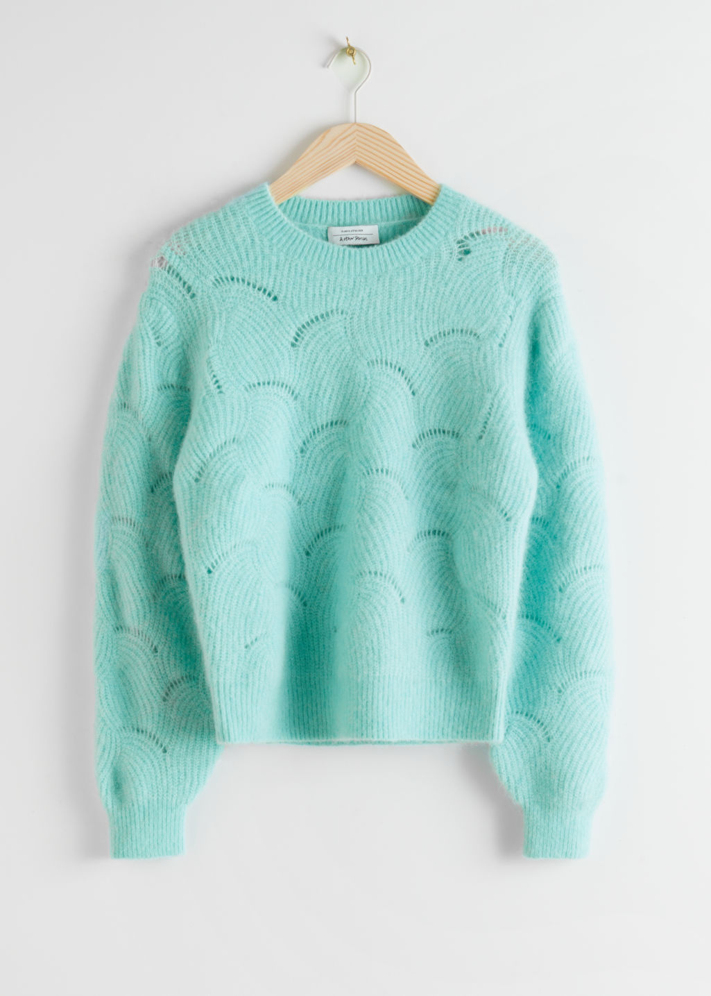 StillLife Front Image of Stories Wave Knitted Wool Blend Sweater in Turquoise