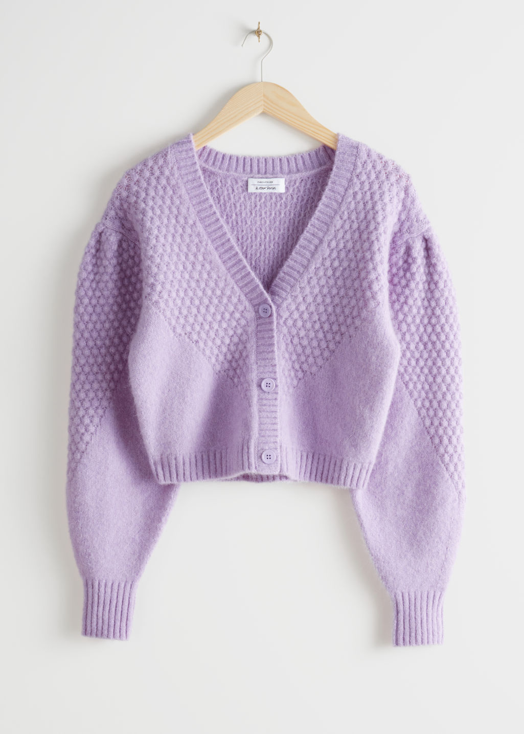 Front image of Stories waffle knit wool blend cardigan in purple