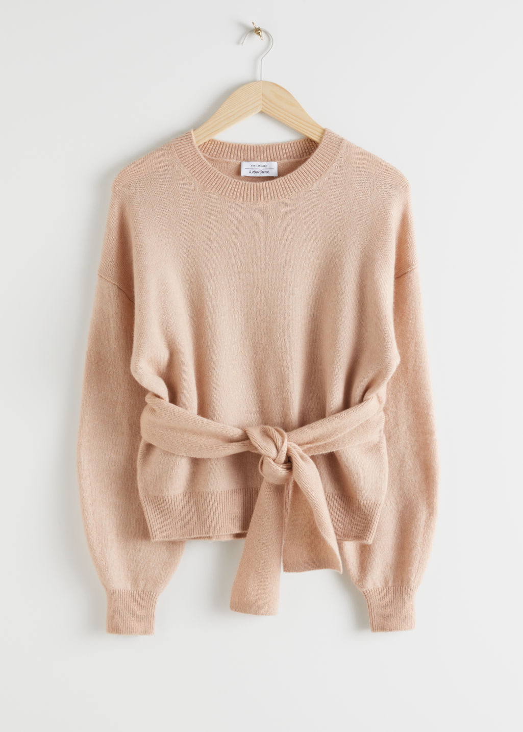 StillLife Front Image of Stories Belted Wool Blend Knit Sweater in Beige