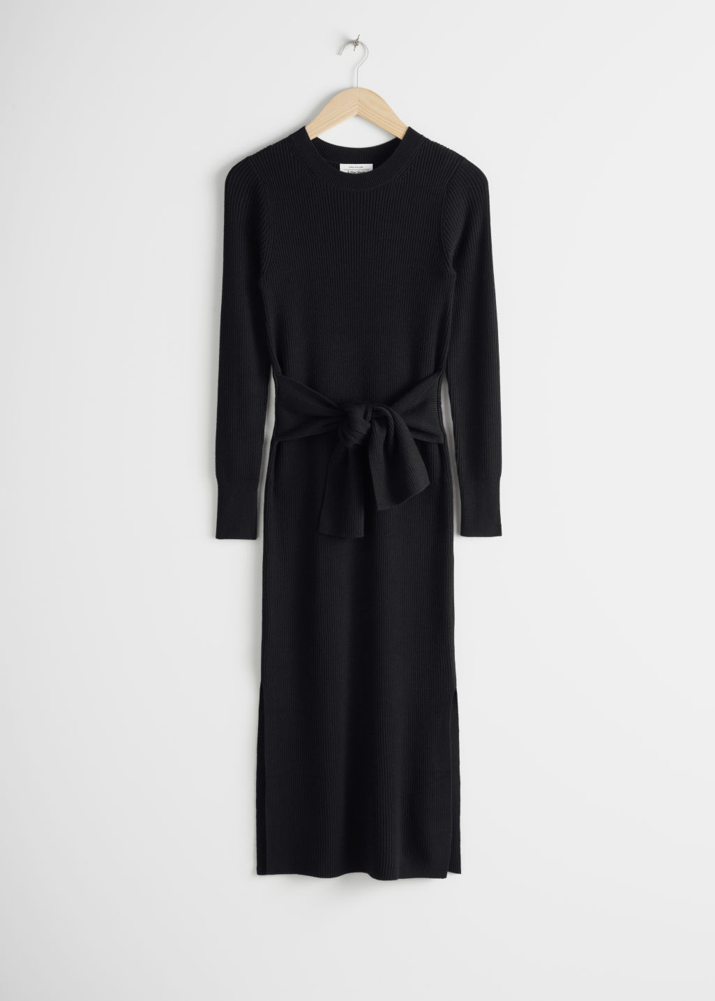 Front image of Stories ribbed knot tie belted midi dress in black