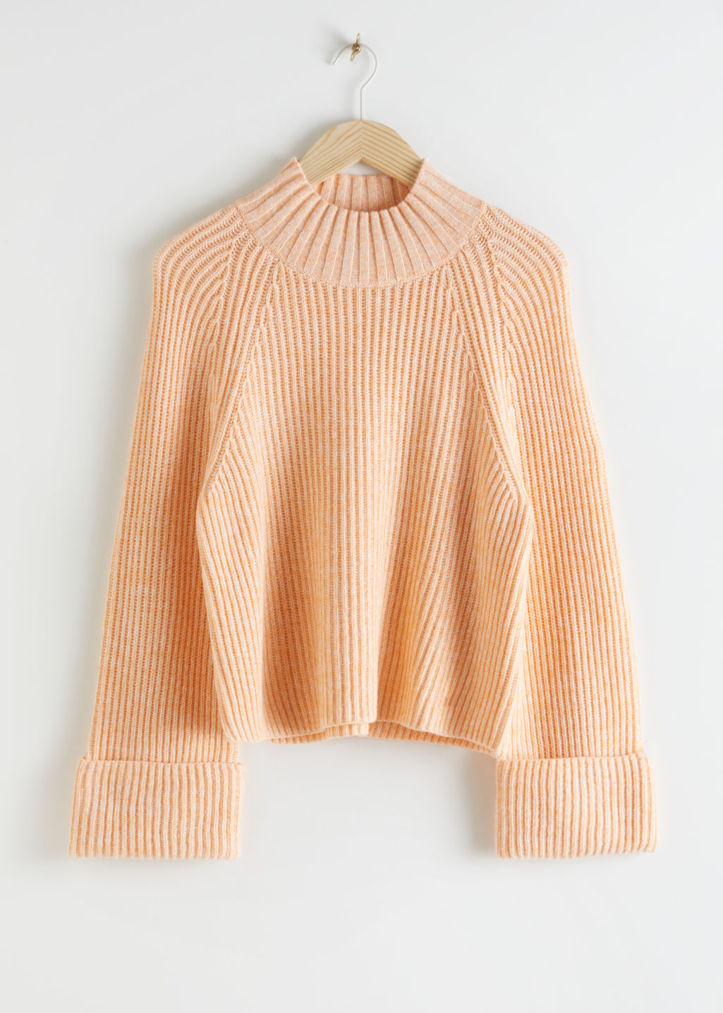 StillLife Front Image of Stories Folded Cuff Mock Neck Knit Sweater in Orange