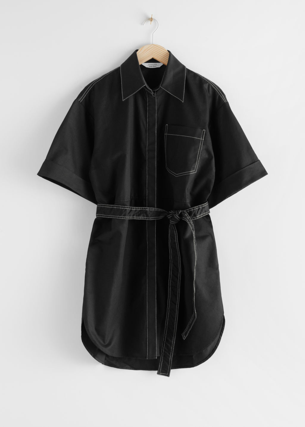 StillLife Front Image of Stories Topstitched Utility Shirt Dress in Black