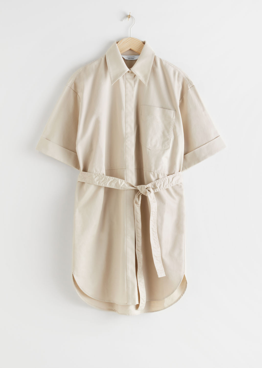 StillLife Front Image of Stories Topstitched Utility Shirt Dress in Beige
