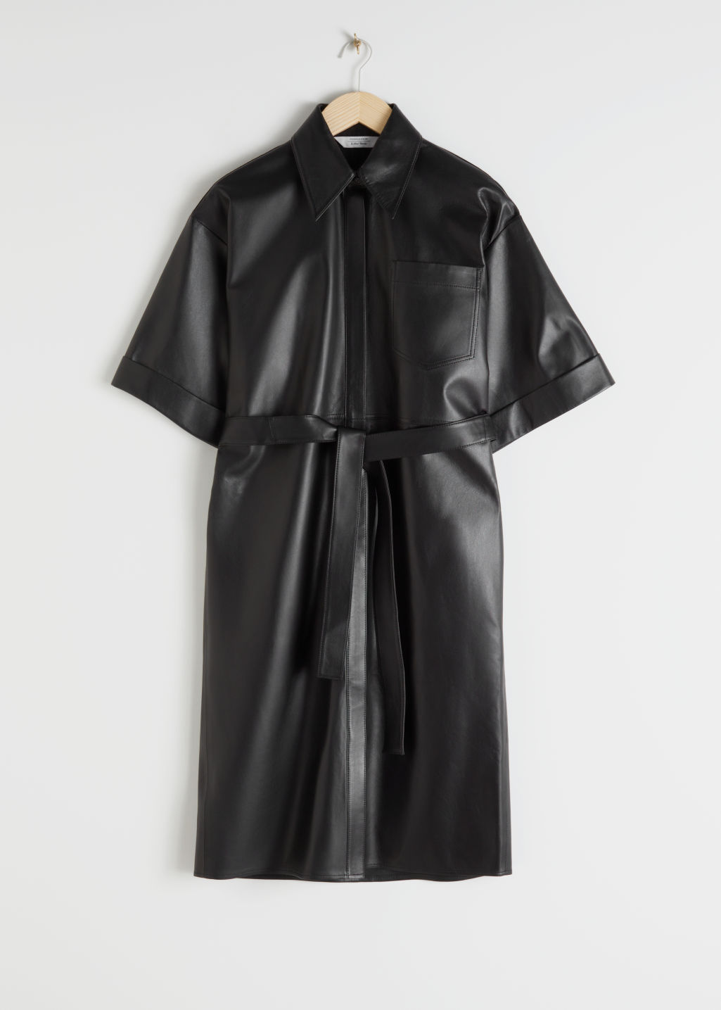StillLife Front Image of Stories Oversized Leather Shirt Dress in Black