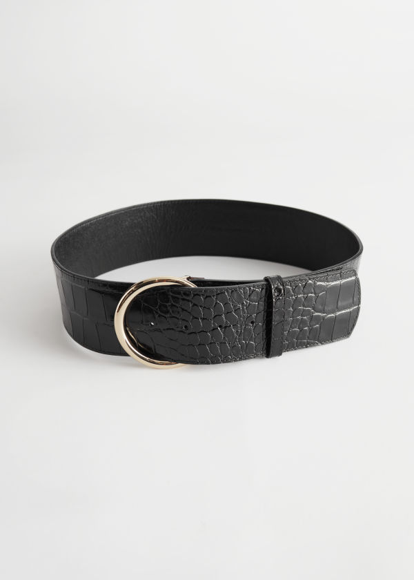 Croc Embossed Wide Leather Belt