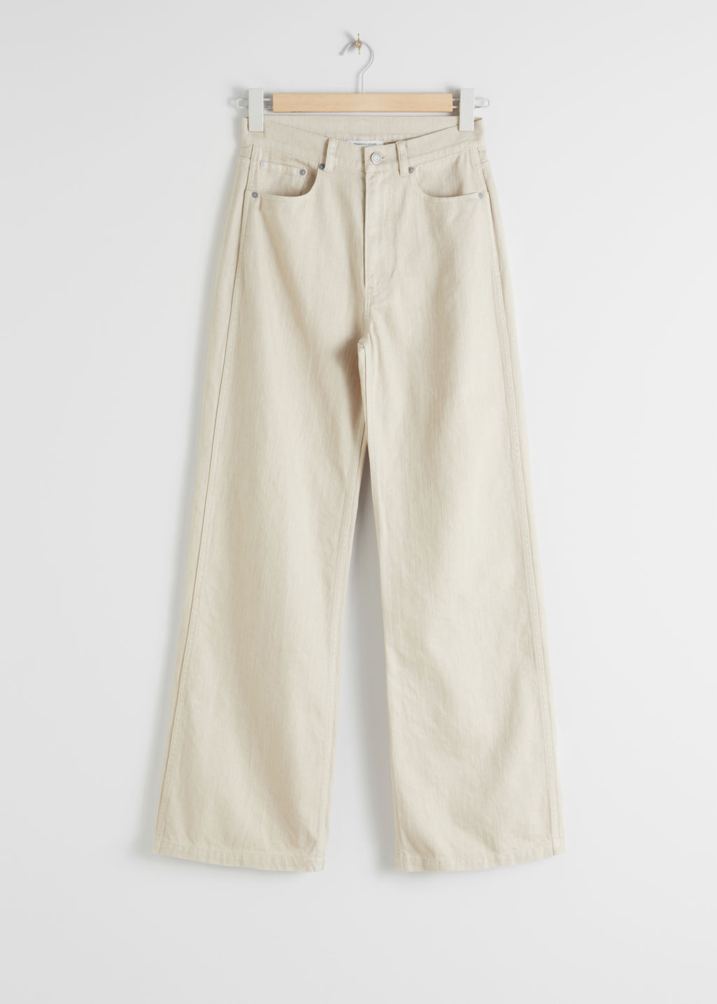StillLife Front Image of Stories Wide Leg Woven Cotton Trousers in Beige