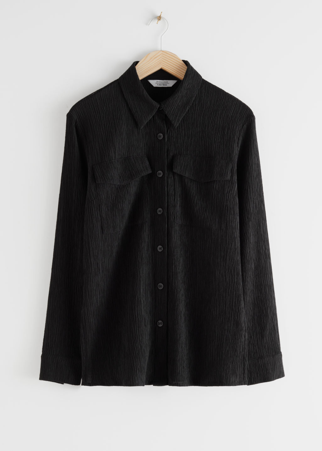 StillLife Front Image of Stories Fitted Lyocell Blend Shirt in Black