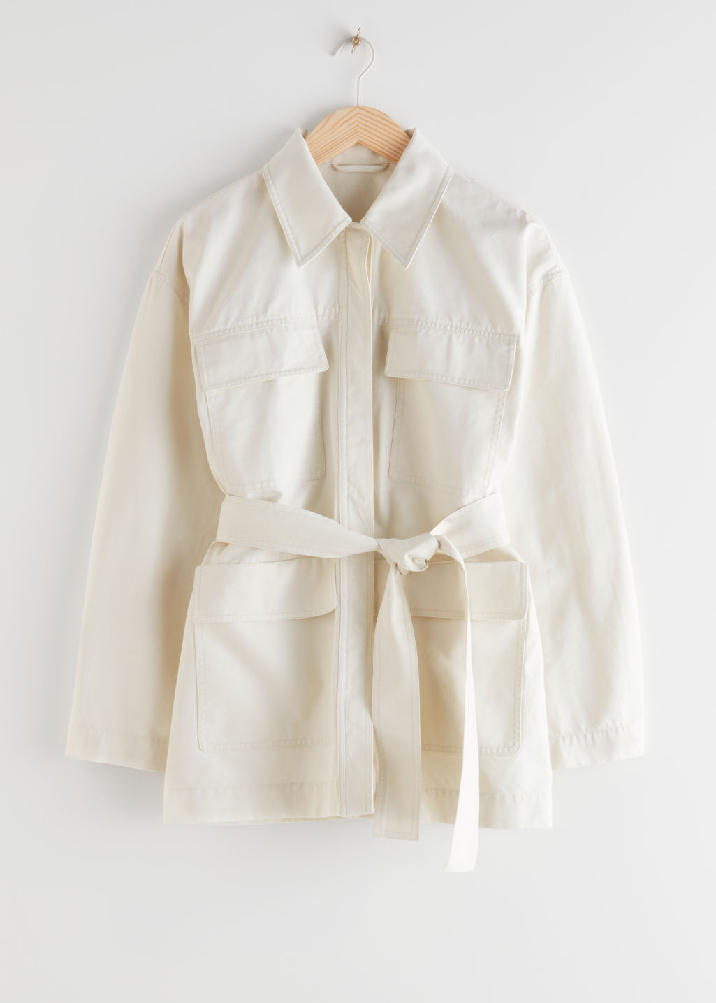 StillLife Front Image of Stories Belted Cotton Jacket in White