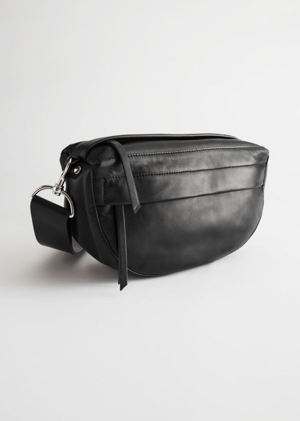 Leather Half Moon Crossbody Bag