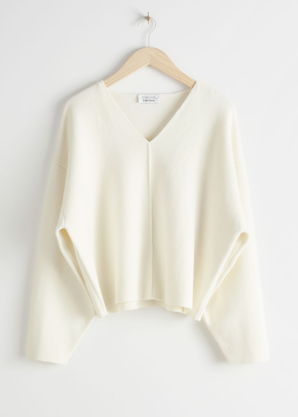 StillLife Front Image of Stories Wool Blend Cocoon Sleeve Knit Sweater in White
