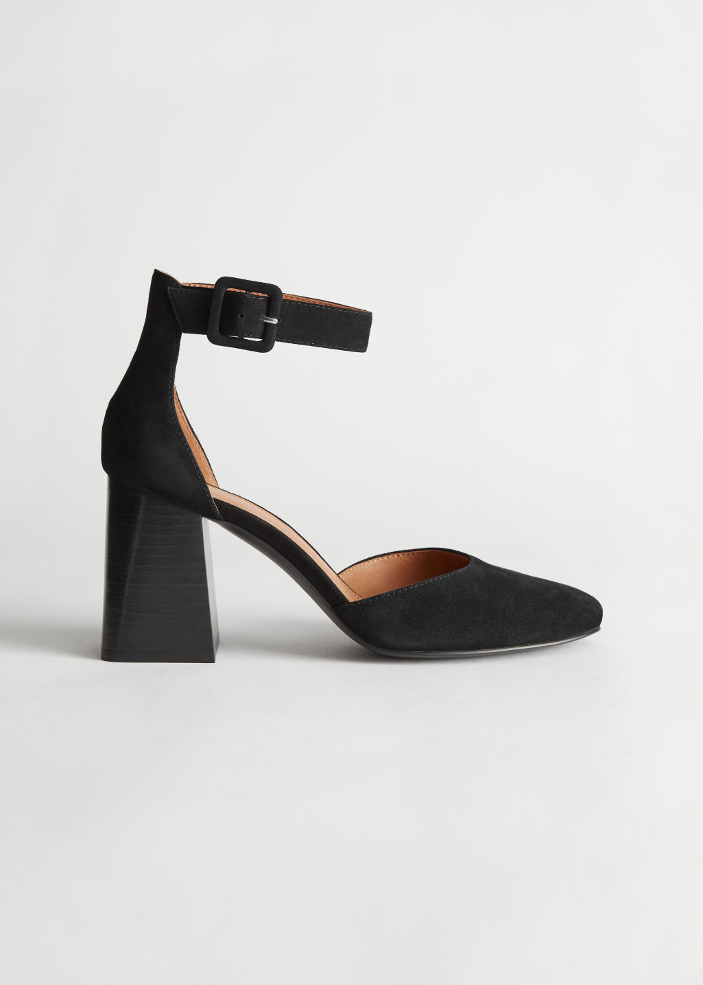 StillLife Side Image of Stories Suede Ankle Strap Heel in Black