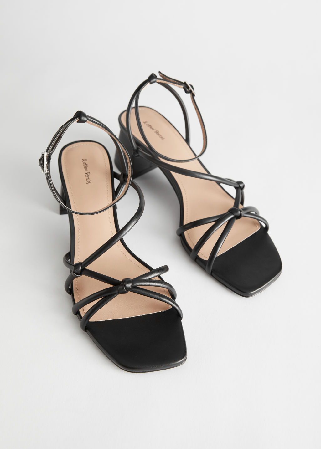 StillLife Front Image of Stories Strappy Leather Heeled Sandals in Black