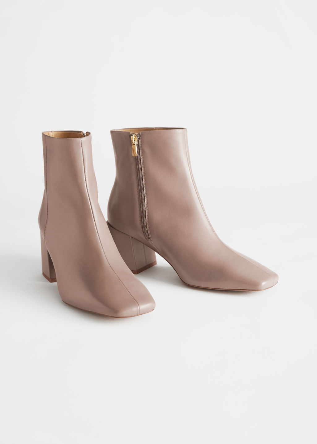 StillLife Front Image of Stories Leather Square Toe Heeled Boots in Beige
