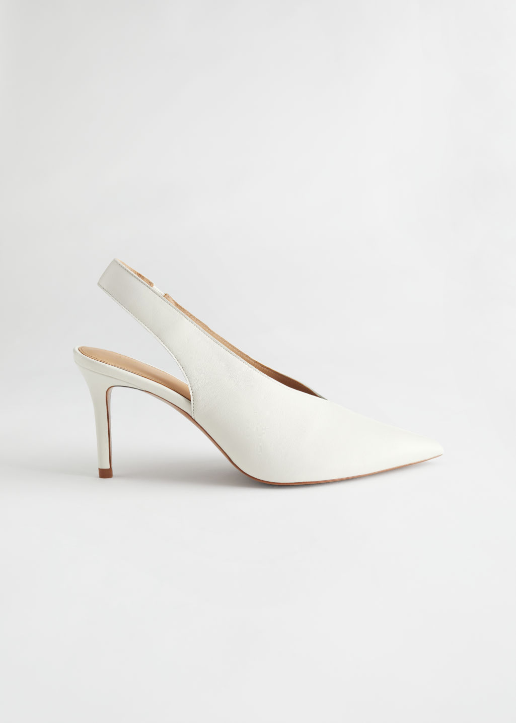 StillLife Side Image of Stories Pointed Leather Slingback Pumps in White