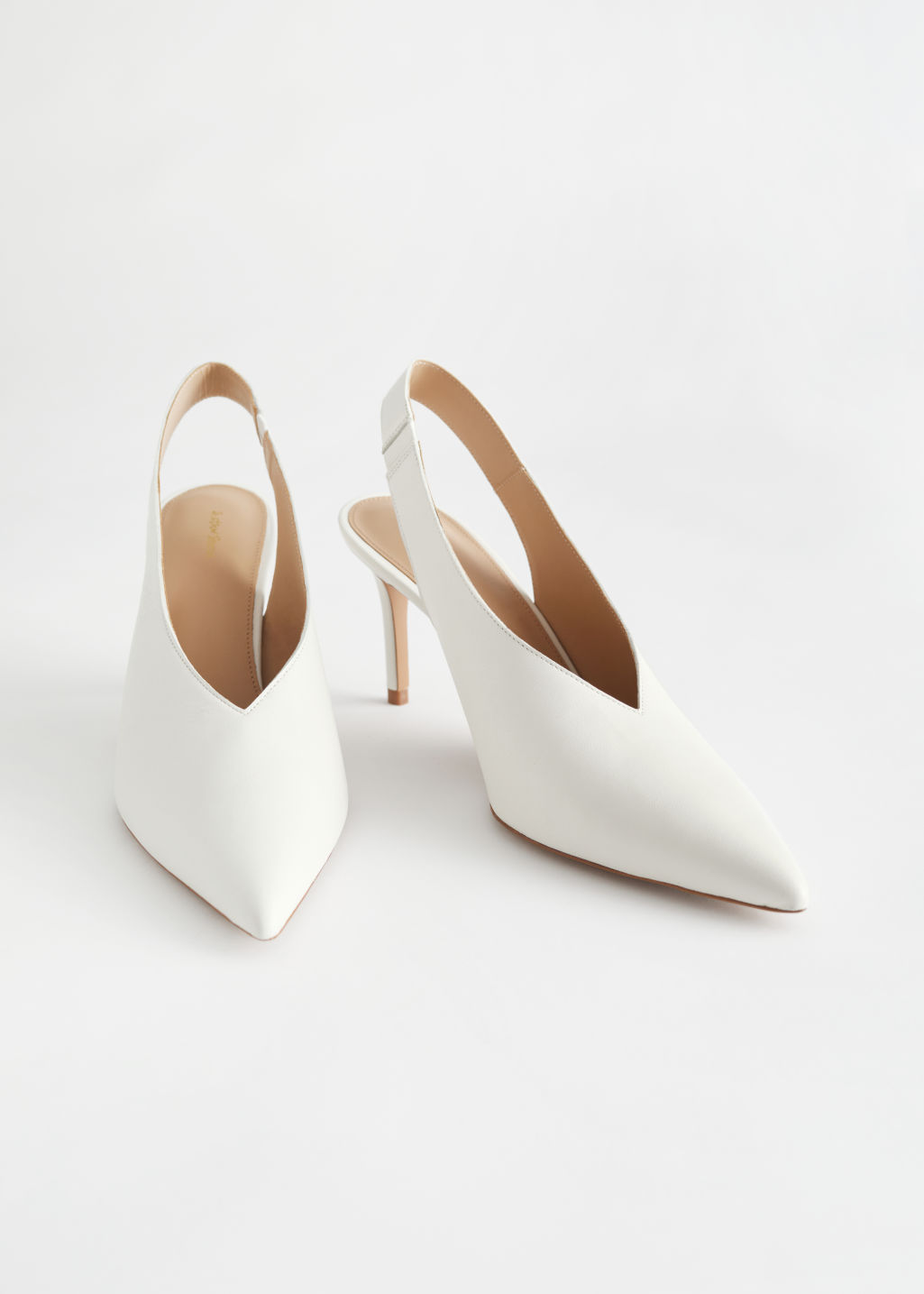 StillLife Front Image of Stories Pointed Leather Slingback Pumps in White
