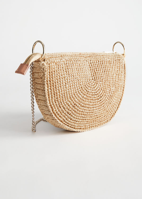 Half Moon Straw Crossbody Bag
