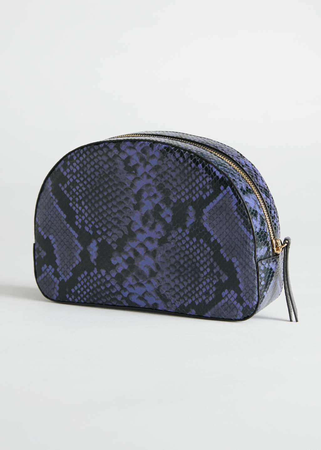 Back image of Stories half moon snake vanity bag in purple