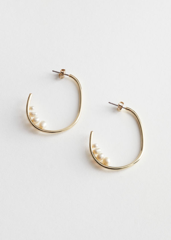 Pearl Studded Mini Open Hoop Earrings