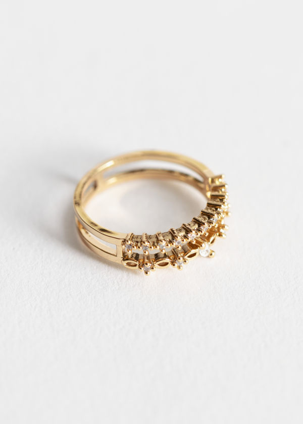 Open Frame Crystal Duo Ring