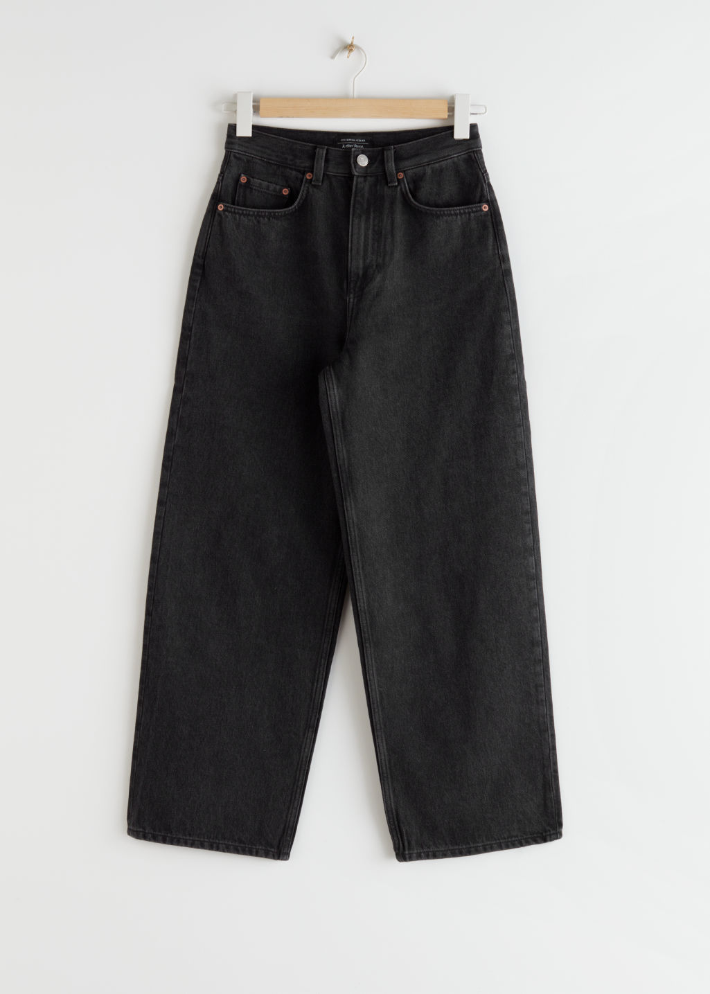 StillLife Front Image of Stories High Rise Wide Leg Jeans in Black