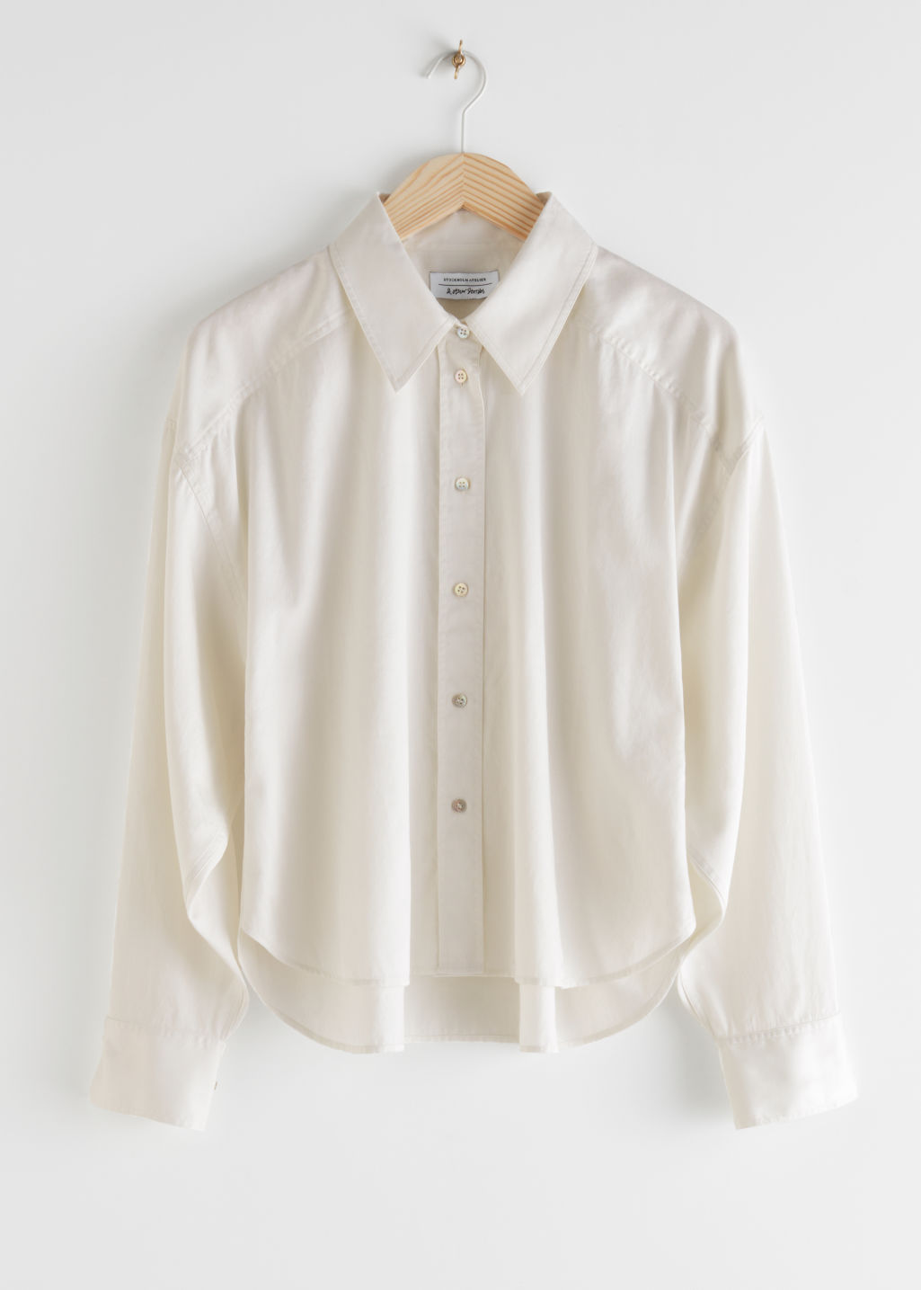 StillLife Front Image of Stories Cropped Oversized Twill Shirt in White