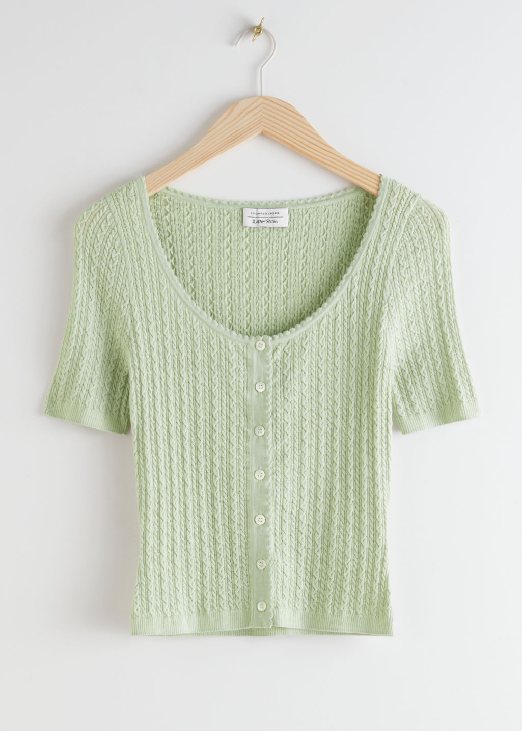 StillLife Front Image of Stories Fitted Knit Structure Top in Green