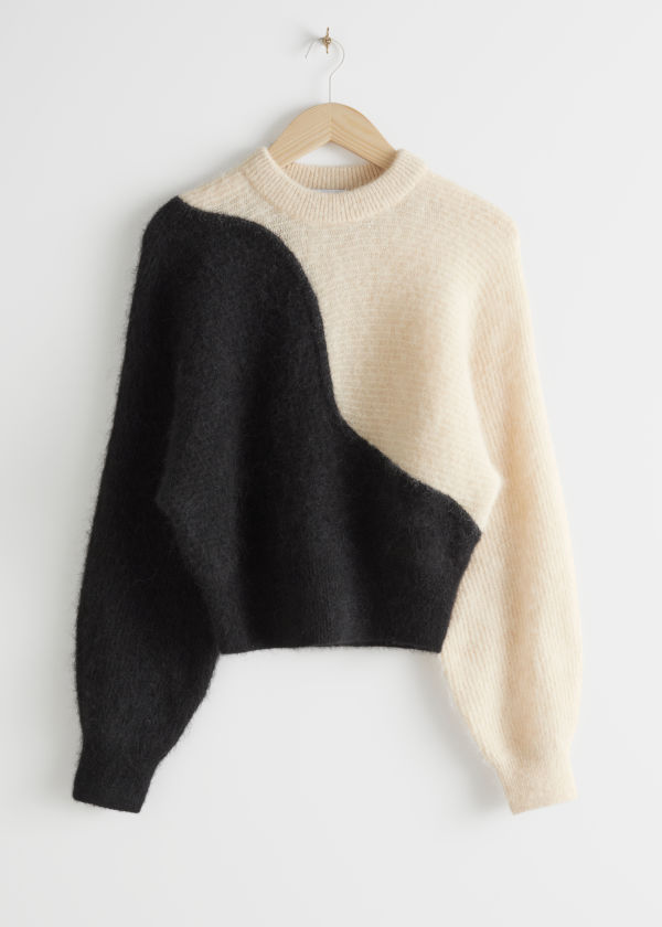 Alpaca Blend Cropped Colour Block Sweater