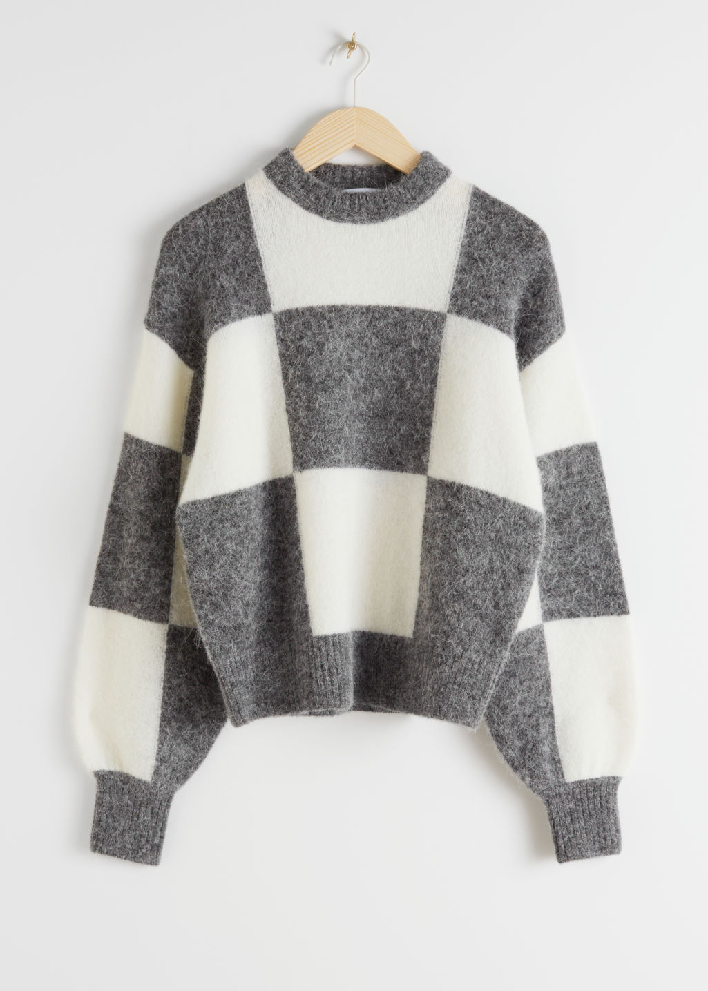 StillLife Front Image of Stories Alpaca Blend Jacquard Colour Block Jumper in White