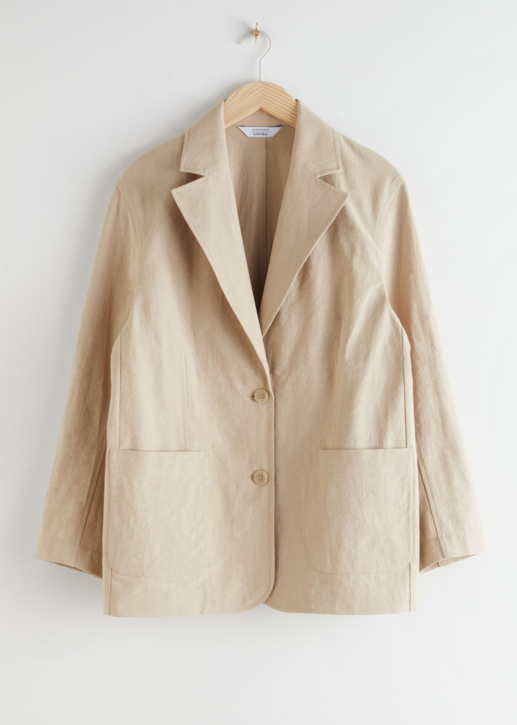 StillLife Front Image of Stories Linen Blend Oversized Blazer in Beige