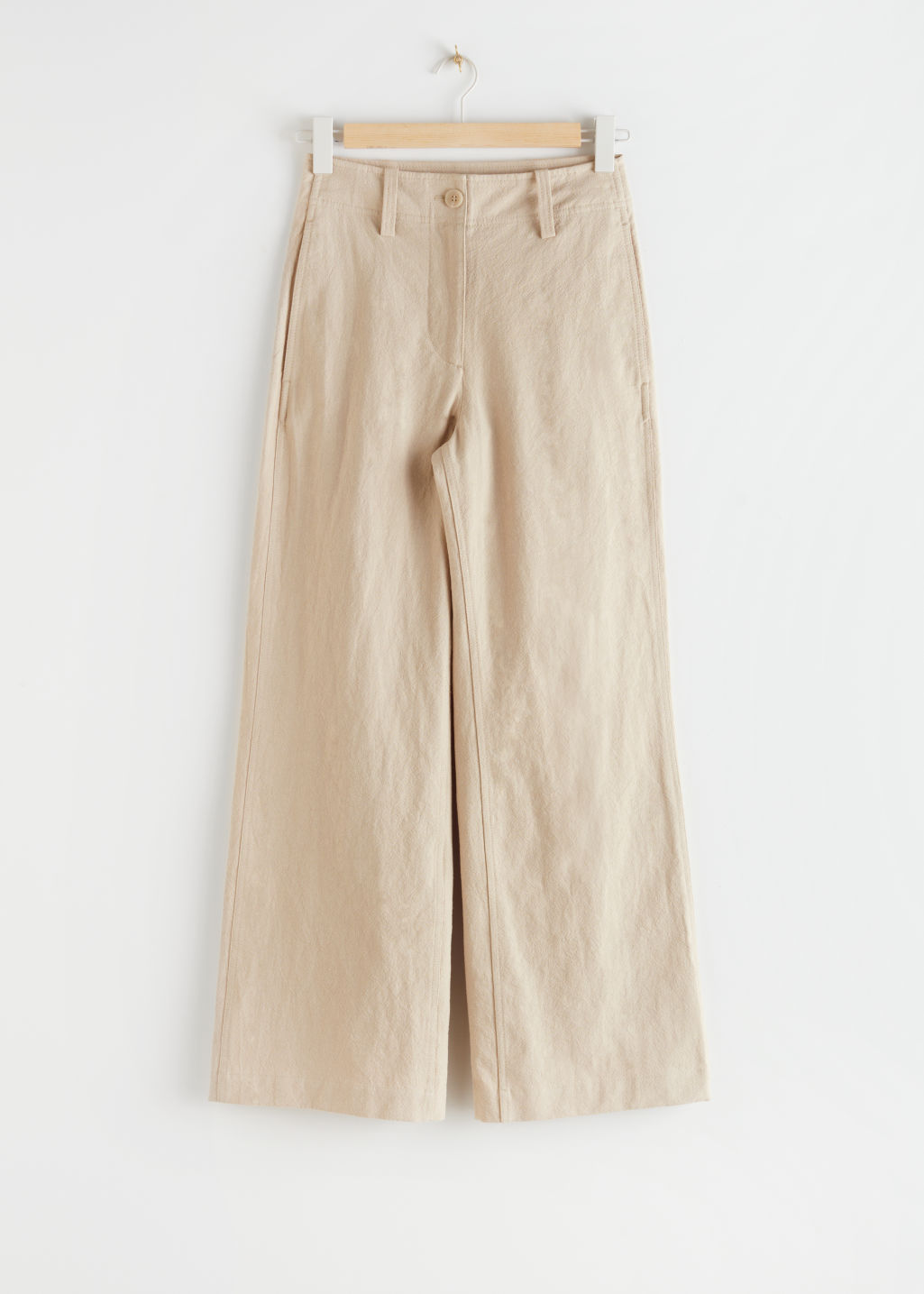 StillLife Front Image of Stories High Waisted Wide Leg Crepe Trousers in Beige