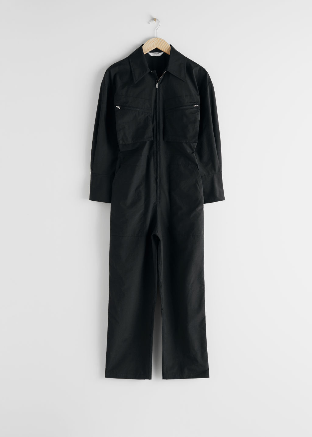 StillLife Front Image of Stories Cotton Blend Utility Jumpsuit in Black