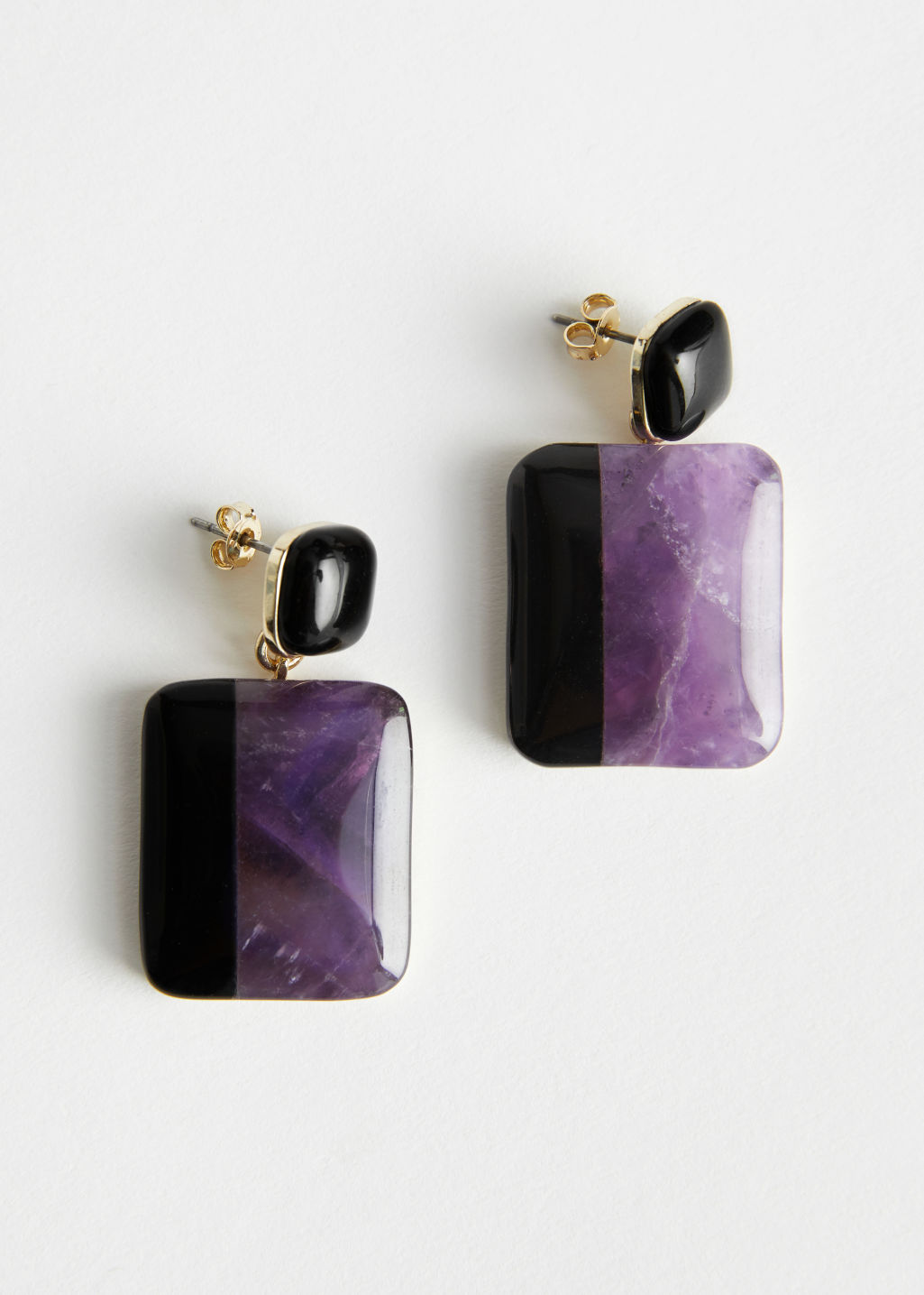 Front image of Stories colour block dangling stone earrings in purple